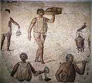 Servants/slaves making preparations for a feast. Mosaic. Carthage. 2nd century AD. Louvre