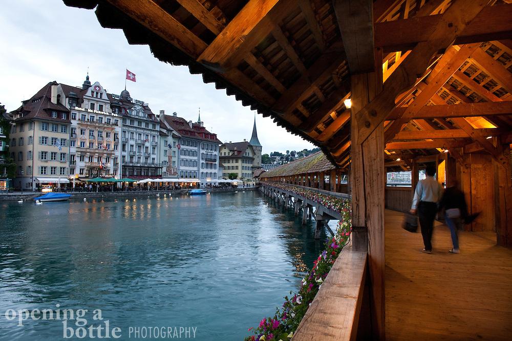 Interior of the Chapel Bridge (Kapellbrücke) in Lucerne, Switzerland.
