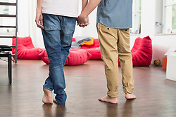 Homosexual couple holding hands, close up