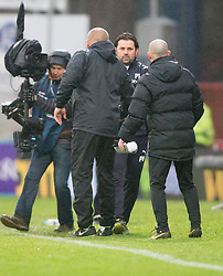 Dundee United's manager Mixu Paatelainen and Dundee's manager Paul Hartley at the end. <br /> Dundee 2 v 1  Dundee United, SPFL Ladbrokes Premiership game played 2/1/2016 at Dens Park.