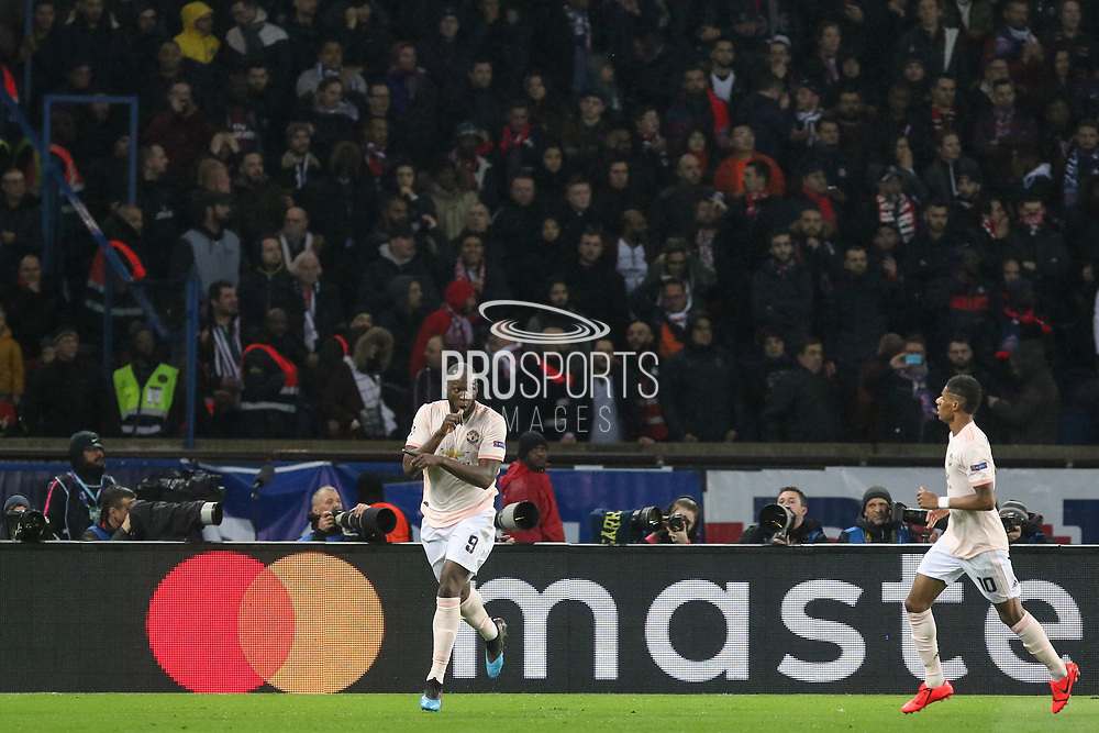 GOAL - Manchester United Forward Romelu Lukaku celebrates 1-2 with Manchester United Forward Marcus Rashford during the Champions League Round of 16 2nd leg match between Paris Saint-Germain and Manchester United at Parc des Princes, Paris, France on 6 March 2019.