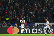 GOAL - Manchester United Forward Romelu Lukaku celebrates 1-2 with Manchester United Forward Marcus Rashford during the Champions League Round of 16 2nd leg match between Paris Saint-Germain and Manchester United at Parc des Princes, Paris, France on 6 March 2019.