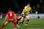 Paul Jedrasiak of Clermont and Felix Lambey of Lyon and Baptiste Couilloud of Lyon during the French championship Top 14 Rugby Union match between Lyon OU and Clermont on February 17, 2018 at Groupama stadium in Lyon, France - Photo Romain Biard / Isports / ProSportsImages / DPPI