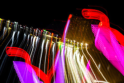 """""""Reno Lights 1"""" - The Grand Sierra Resort photographed in Reno, Nevada. The abstract effect was obtained in camera by long exposure mixed with intentional camera movement."""
