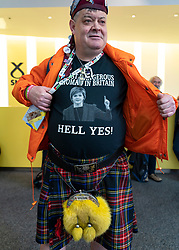 Edinburgh, Scotland, UK. 28 April, 2019. Day 2 of thee SNP ( Scottish National Party) Spring Conference takes place at the EICC ( Edinburgh International Conference Centre) in Edinburgh. Pictured; Patriotic delegate Steve Davis wearing kilt and pro independence t shirt at the conference