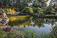 Rinnoji Garden in Sendai - beyond the main hall of the temple is a Japanese pond garden and pagoda. Visitors to Rinnoji's inner gardens can walk along the various paths, admire the koi pond, the three storied pagoda.  All of the buildings have been recently restored to their original condition.  The garden was designed by Musoto Osho.  Rinnoji is the family temple of the Date clan and is noted for its irises in the month of June.