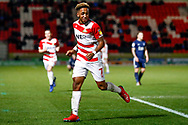 Doncaster Rovers forward Mallik Wilks (7), on loan from Leeds United scores a goal and celebrates to make the score 2-0 during the EFL Sky Bet League 1 match between Doncaster Rovers and Southend United at the Keepmoat Stadium, Doncaster, England on 12 February 2019.