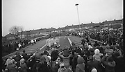 Santa at Crumlin Shopping Centre <br /> 27/11/1976<br /> 11/27/1976<br /> 27th November 1976<br /> Picture shows thousands of children greeting the arrival by helicopter of Santa Claus. Santa exchanged his sleigh for a helicopter when he arrived at Crumlin shopping centre. The helicopter was sponsored by Quinnsworth.