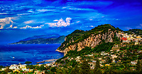 """""""A panoramic view of the majestic island of Capri""""…<br /> <br /> On the third morning in Sorrento, I departed on a high speed Ferry to the island of Capri.  Although promoting high-speed, it still took over an hour to arrive at the very crowded Island.  Capri is located off the coast of Naples and there must be a new Ferry full of tourists arriving every 20 minutes throughout the day.  Famous for its Blue Grotto, which I did not venture to this trip, Capri is a picturesque Mediterranean retreat with high cliffs and ancient Roman villas. The highlight of my visit was the small and very crowded bus ride along the cliffs edge to Anacapri.  I was standing closest to the door on the right side of the bus during the assent up the mountainside.  All I could see was the rocky shore below and with every leaning left turn, prayed desperately I would make it to the top.  Anacapri is a historic mountaintop town with commanding views of Capri and the sea below."""