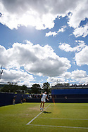 Jana Cepelova of Slovakia serves during the Women's Singles Quarter Final at the Fuzion 100 Ilkley Lawn Tennis Trophy Tournament held at Ilkley Lawn Tennis and Squad Club, Ilkley, United Kingdom on 19 June 2019.