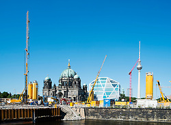 Major construction project on Museumsinsel or Museum Island in Mitte Berlin Germany