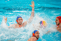 Jorn Muller, Guus van IJperen, Eelco Wagenaar of the Netherlands in action against Montenegro during the Olympic qualifying tournament. The Dutch water polo players are on the hunt for a starting ticket for the Olympic Games on February 19, 2021 in Rotterdam