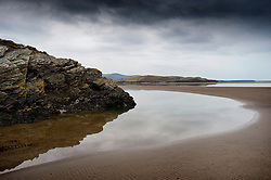 Low tide at the mouth of the Afon Dwyryd (River Dwyryd) on Portmeirion estate, Gwynedd, North Wales, UK.