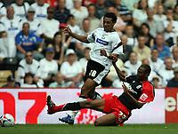 Photo: Rich Eaton.<br /> <br /> Derby County v Southampton. Coca Cola Championship.<br /> <br /> 06/08/2006. Derbys Giles Barnes #28 is tackled by the Southampton player John Viafara