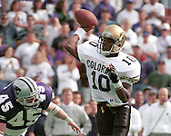 Colorado quarterback Kordell Stewart (10) throws the ball up field against Kansas State at KSU Stadium in Manhattan, Kansas in 1994.