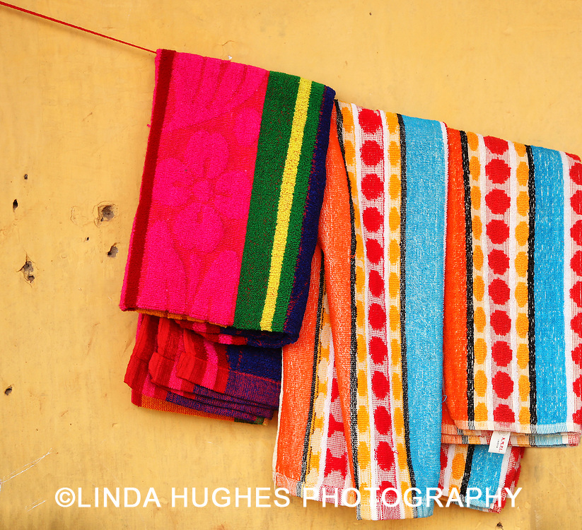 Towels hanging outside in a village in Ghana