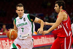 Sani Becirovic of Slovenia vs Aren Davoudichegani  of Iran during  the Preliminary Round - Group B basketball match between National teams of Slovenia and Iran at 2010 FIBA World Championships on September 2, 2010 at Abdi Ipekci Arena in Istanbul, Turkey. (Photo By Vid Ponikvar / Sportida.com)