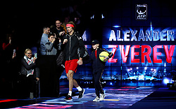 Alexander Zverev arrives prior to the start of his singles match during day six of the Nitto ATP Finals at The O2 Arena, London. PRESS ASSOCIATION Photo. Picture date: Friday November 16, 2018. See PA story TENNIS London. Photo credit should read: John Walton/PA Wire. RESTRICTIONS: Editorial use only, No commercial use without prior permission.