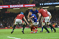 Football - 2020 Guinness Six Nations Championship - Wales vs. France<br /> <br /> Gael Fickou, of France attacks, at the Principality (Millennium) Stadium.<br /> <br /> COLORSPORT/WINSTON BYNORTH