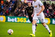 Jamie Vardy of Leicester City ( behind ) in action. Premier league match, Swansea city v Leicester city at the Liberty Stadium in Swansea, South Wales on Saturday 21st October 2017.<br /> pic by Aled Llywelyn, Andrew Orchard sports photography.