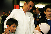 Saturday October 14th 2006. .Giants Stadium, East Rutherford, New Jersey. United States..Red Bulls French soccer player Youri Djorkaeff with his chidren after a game that could be his last one as a professional player against Kansas City at the Giants Stadium. .From left to right: Oan (his younger son), Youri Djorkaeff, Angelica (his daughter) and Sacha (his older son).
