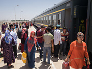 Arrival in Yarkand city. Train station.