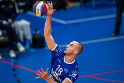 Dennis Borst of Lycurgus in action during the cup final between Amysoft Lycurgus vs. Draisma Dynamo on April 18, 2021 in sports hall Alfa College in Groningen