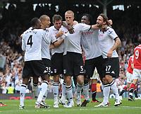Craven Cottage, Fulham v Manchester United, Premier League 22/08/2010<br />  Brede Hangeland of Fulham celebrates with teamates after making the score 2-2 <br /> Photo Marc Atkins  Fotosports International