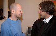 Carl Friedman and Nic Bufatovic,  Opening of Carl Freidman's Counter Editions, Charlotte Rd. 11 March 2003. © Copyright Photograph by Dafydd Jones 66 Stockwell Park Rd. London SW9 0DA Tel 020 7733 0108 www.dafjones.com