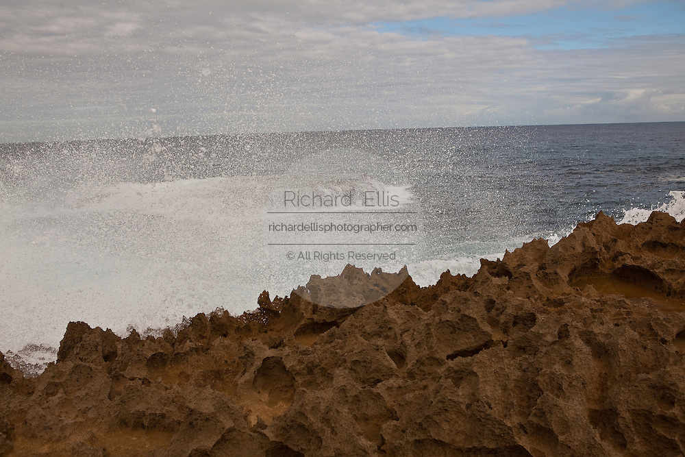 Rough surf at Playa Jobos beach in Isabela Puerto Rico