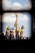 St Basil's cathedral seen through the entrance gate to Red Square, Moscow, Russia