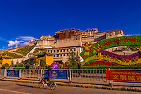 A bicycle on a Beijing Middle Road with the Potala Palace behind, Lhasa, Tibet (Xizang), China.