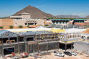 26 AUGUST 2005 - Construction at the Scottsdale Riverfront redevelopment project. Jay Kelso is operating the crane, which is about 300 feet above the base of the excavation. PHOTO BY JACK KURTZ
