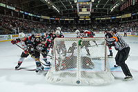 KELOWNA, CANADA - SEPTEMBER 28: Connor Bruggen-Cate #20 of Kelowna Rockets tries to put the puck past Ty Edmonds #35 of Prince George Cougars on September 28, 2016 at Prospera Place in Kelowna, British Columbia, Canada.  (Photo by Marissa Baecker/Shoot the Breeze)  *** Local Caption *** Ty Edmonds; Connor Bruggen-Cate;