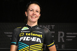 October 14, 2018 - Gieten, NETHERLANDS - Dutch Fleur Nagengast pictured on the podium after the women's race at the first stage of the Superprestige cyclocross cycling competition, in Gieten, Netherlands, Sunday 14 October 2018. BELGA PHOTO DAVID STOCKMAN (Credit Image: © David Stockman/Belga via ZUMA Press)