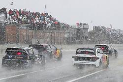 April 29, 2018 - Montalegre, Vila Real, Portugal - Petter SOLBERG (NOR) in Volkswagen Polo R of PSRX Volkswagen Sweden (L), Sebastien LOEB (FRA) in Peugeot 208 of Team Peugeot  Total (2L), Andreas BAKKERUD (NOR) in Audi Sl of EKS Audi Sport (3L) and Petter SOLBERG (NOR) in Volkswagen Polo R of PSRX Volkswagen Sweden (R) in action during the World RX of Portugal 2018, at Montalegre International Circuit, on April 29, 2018 in Montalegre, Portugal. (Credit Image: © Dpi/NurPhoto via ZUMA Press)