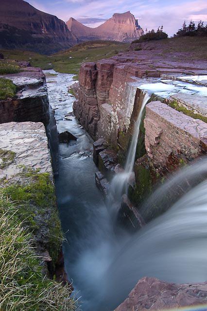 triple falls, glacier national park, waterfall summer sunrise, landscape vertical