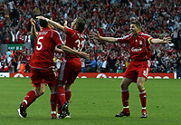 Photo: Paul Thomas.<br /> Liverpool v Chelsea. UEFA Champions League. Semi Final, 2nd Leg. 01/05/2007.<br /> <br /> Daniel Agger (5) and Liverpool celebrate his goal.