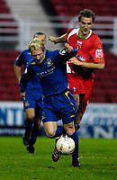 Photo: Alan Crowhurst.<br />Swindon Town v Morecambe. The FA Cup. 02/12/2006.<br />Morecambe's David Perkins attacks.