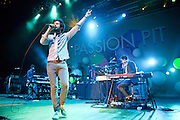 COLUMBIA, MD - May 11th,  2013 -   Jeff Apruzzese, Xander Singh, Michael Angelakos, Nate Donmoyer and Ian Hultquist of Passion Pit perform on the Main Stage at the 2013 Sweetlife Music and Food Festival at Merriweather Post Pavilion in Columbia, MD.  (Photo by Kyle Gustafson/For The Washington Post)