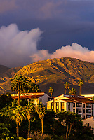 Santa Barbara, California USA with dramatic clouds rushing over the Santa Ynez Mountains (behind).