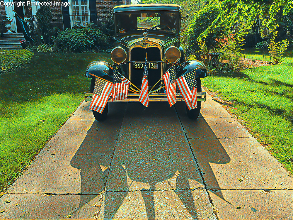 Antique car on Memorial Day 2018, in Beverly Hills Chicago