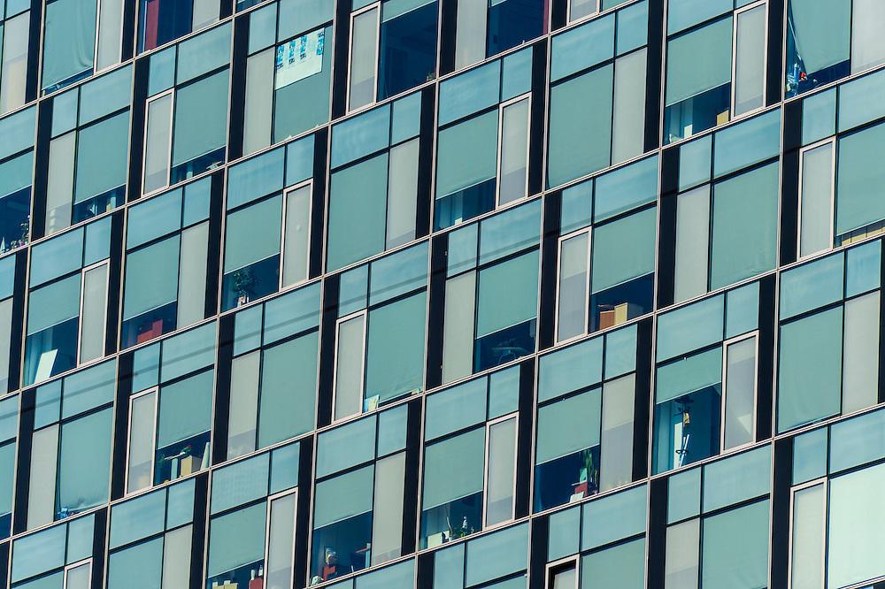 Windows on a modern office building in Bucharest
