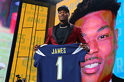 April 26, 2018 - Arlington, TX, U.S. - ARLINGTON, TX - APRIL 26:  Derwin James holds up a jersey after being chosen by the Los Angeles Chargers with the 17th pick during the first round at the 2018 NFL Draft at AT&T Statium on April 26, 2018 at AT&T Stadium in Arlington Texas.  (Photo by Rich Graessle/Icon Sportswire) (Credit Image: © Rich Graessle/Icon SMI via ZUMA Press)