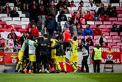 April 30, 2018 - Na - Lisboa, 04/28/2018 - Sport Lisboa Benfica received this afternoon at Estádio da Luz Tondela in the 32nd Match of the first Liga NOS. Epoca 2017 / 2018. Tondela team celebrates the 3 goal scored by Tomanà (Credit Image: © Atlantico Press via ZUMA Wire)