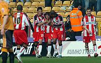 Photo: Kevin Poolman.<br />Wolverhampton Wanderers v Southampton. Coca Cola Championship. 31/03/2007. Marek Saganowski (No.4) celebrates his 2nd goal For Southampton with Andrew Surman (No.29) and Pedro Pele (No.3).