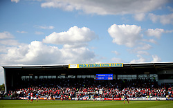 A general view of the action during the Sky Bet League One play-off second leg match at Montgomery Waters Meadow, Shrewsbury.