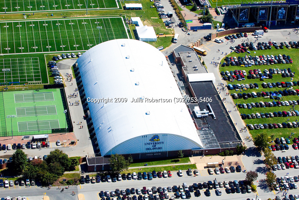Aerial view of  the University of Delaware, Field house Ice rink Campus, Newark