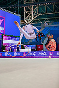 Nikolchenko Vlada during qualifying at hopp in Pesaro World Cup 13 April 2018. Goeun is a gymnast from Ukraine born in Kharkiv, 2002 .Her goal is compete at the 2020 Olympic Games in Tokyo.