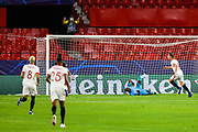 Luuk de Jong of Sevilla scores the 1-0 goal during the UEFA Champions League, Group Stage, Group E football match between Sevilla FC and Stade Rennais on October 28, 2020 at Ramon Sanchez-Pizjuan stadium in Sevilla, Spain - Photo Joaquin Corchero / Spain ProSportsImages / DPPI / ProSportsImages / DPPI